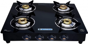 Milton Premium 4 Burner Glass Top LPG Gas Stove